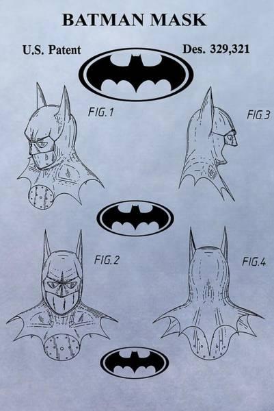 Wall Art - Digital Art - Batman Mask Patent by Dan Sproul