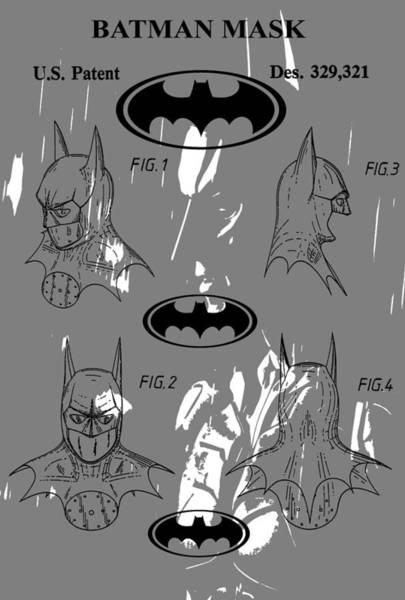 Wall Art - Digital Art - Batman Patent Poster by Dan Sproul