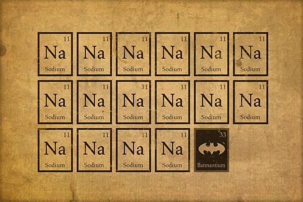 Elements Mixed Media - Batmantium Periodic Table Element Chart Nerd Chemistry Student Superhero Humor by Design Turnpike