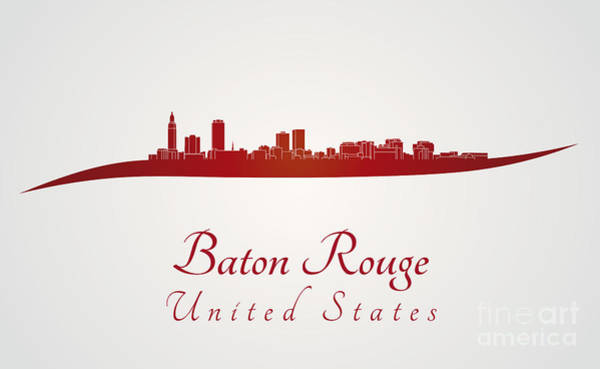 Baton Rouge Digital Art - Baton Rouge Skyline In Red by Pablo Romero