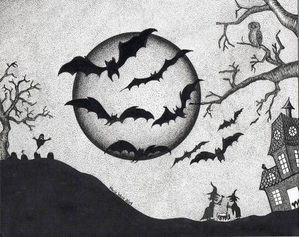 Haunted House Drawing - Bats by Marie Wern