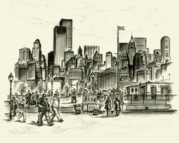 Drawing - New York Battery Park 1972 by Peter Potter