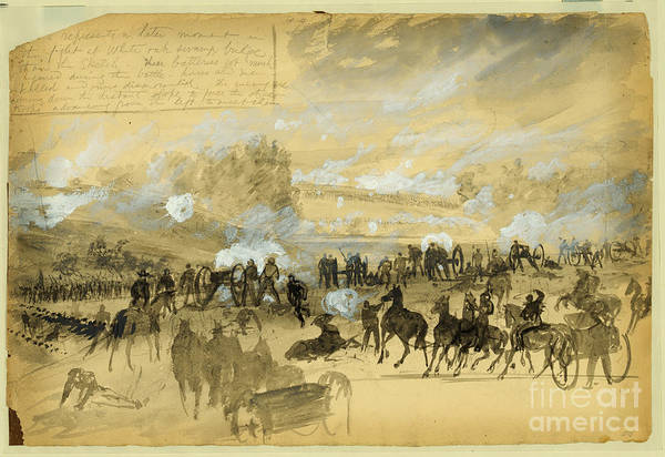 Confederate Soldier Drawing - Battle At White Oak Swamp Bridge by Celestial Images