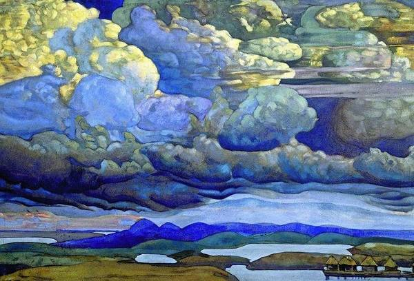 Nk Roerich Painting - Battle In The Heavens by Nicholas Roerich
