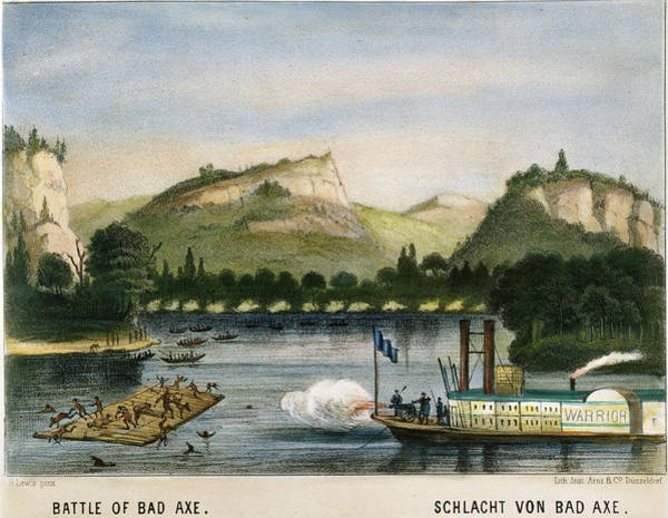 Riverboat Painting - Battle Of Bad Axe, 1832 by Granger