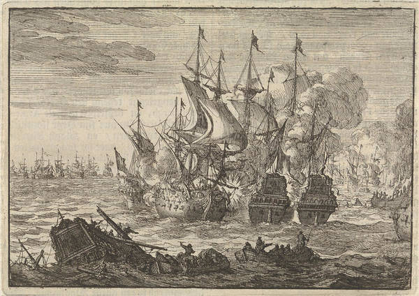 Wall Art - Drawing - Battle Of Beachy Head, 1690, Jan Luyken, Pieter Van Der Aa by Jan Luyken And Pieter Van Der Aa (i)