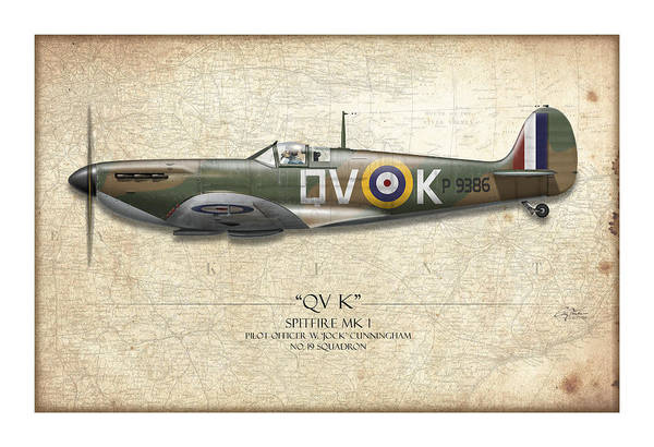 Tinder Wall Art - Painting - Battle Of Britain Qvk Spitfire - Map Background by Craig Tinder