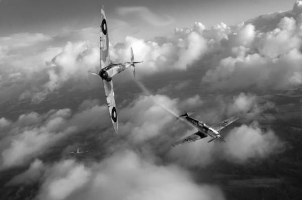 Photograph - Battle Of Britain Spitfire Shoots Down Messerschmitt Bf 109 Black And White Version by Gary Eason