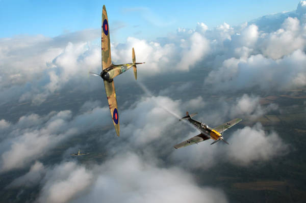 Photograph - Battle Of Britain Spitfire Shoots Down Messerschmitt Bf 109 by Gary Eason