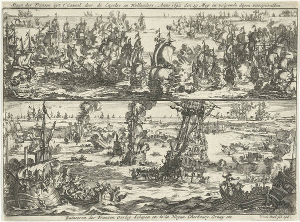 Wall Art - Drawing - Battle Of Cape La Hogue, 1692, Jan Luyken by Jan Luyken And Jan Claesz Ten Hoorn
