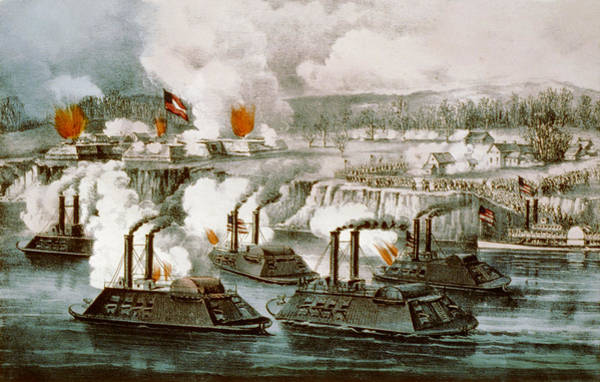 Wall Art - Digital Art - Battle Of Fort Hindman by Currier and Ives
