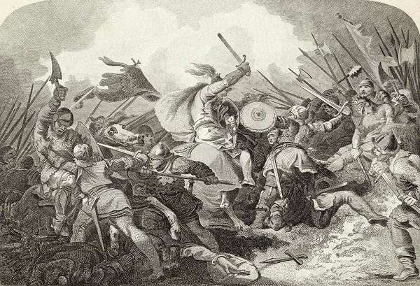 Wall Art - Drawing - Battle Of Hastings The Norman Horseman by Mary Evans Picture Library