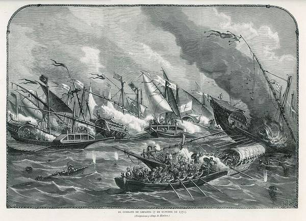 Wall Art - Drawing - Battle Of Lepanto The Spanish & by Mary Evans Picture Library