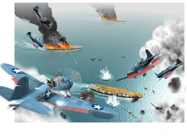 Sbd Wall Art - Photograph - Battle Of Midway, World War II, 1942 by Jose Antonio Pe??as
