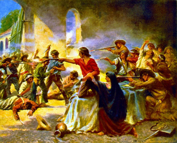Digital Art - Battle Of The Alamo by Percy Moran