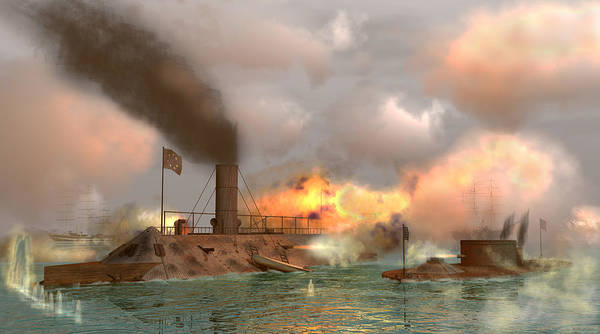 Us Civil War Digital Art - Battle Of The Ironclads by Walter Colvin
