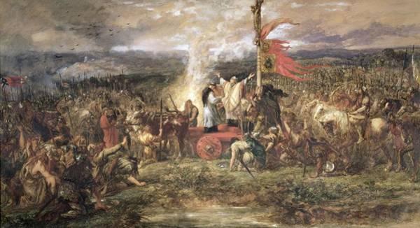 Battleground Photograph - Battle Of The Standard, Northallerton, 22nd August 1138, 1880 Wc On Paper by Sir John Gilbert