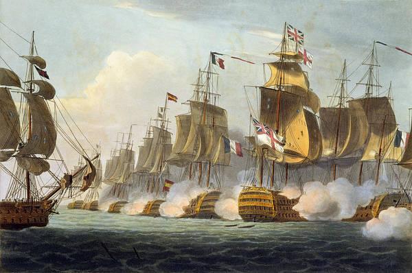 Warfare Drawing - Battle Of Trafalgar by Thomas Whitcombe