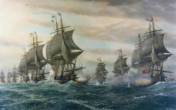 Wall Art - Painting - Battle Of Virginia Capes by Celestial Images