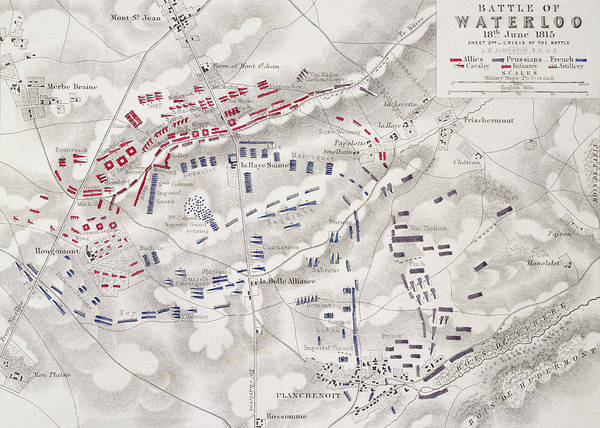 Historic Drawing - Battle Of Waterloo by Alexander Keith Johnston