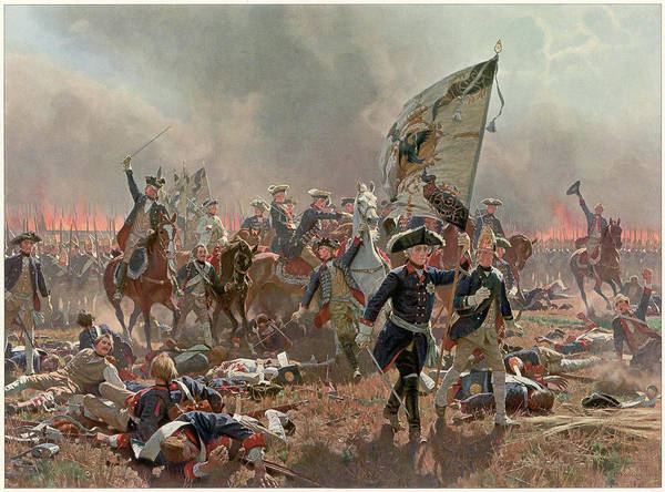 Wall Art - Drawing - Battle Of Zorndorf Friedrich Der Grosse by Mary Evans Picture Library