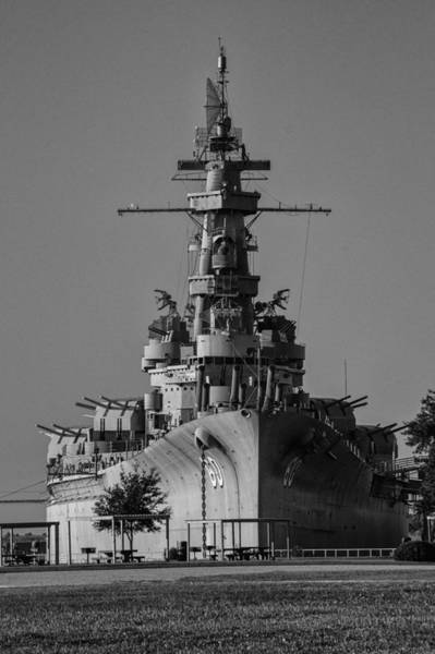 Digital Art - Battleship Alabama From Bow Bw V2 by Michael Thomas