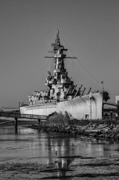Digital Art - Battleship Alabama With Dock by Michael Thomas