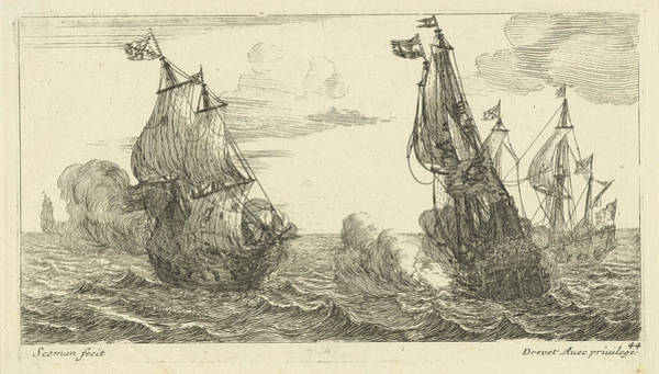 Wall Art - Drawing - Battleship, Anonymous, Pierre Drevet by Anonymous And Pierre Drevet
