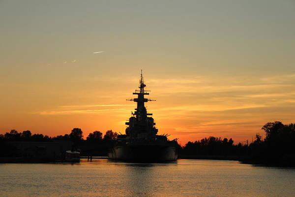 Photograph - Battleship At Sunset by Cynthia Guinn