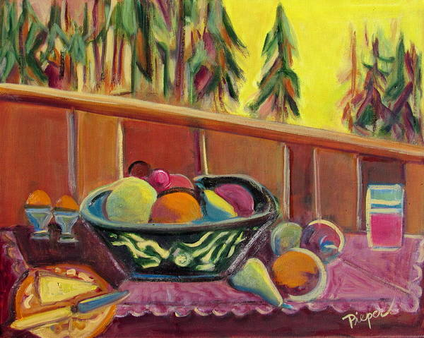Bavarian Alps Painting - Bavarian Breakfast With Strawberry Milk by Betty Pieper