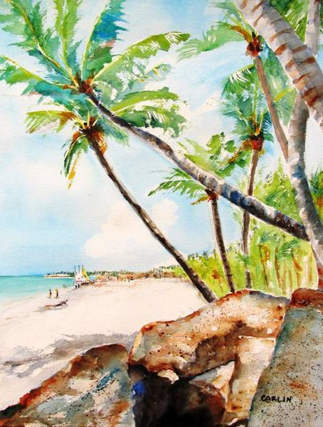 Coconut Painting - Bavaro Tropical Sandy Beach by Carlin Blahnik CarlinArtWatercolor