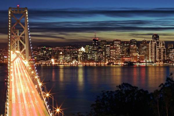 Wall Art - Photograph - Bay Bridge And Embarcadero. Blue Hour by Chris Hornstra Photography