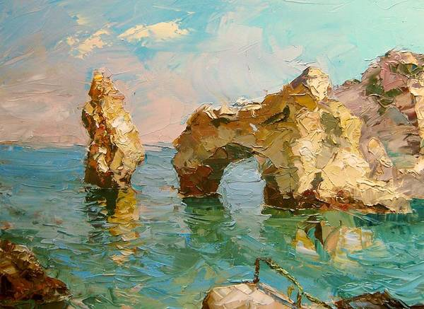 Lagos Painting - Bay In Lagos Portugal by Volodymyr Klemazov