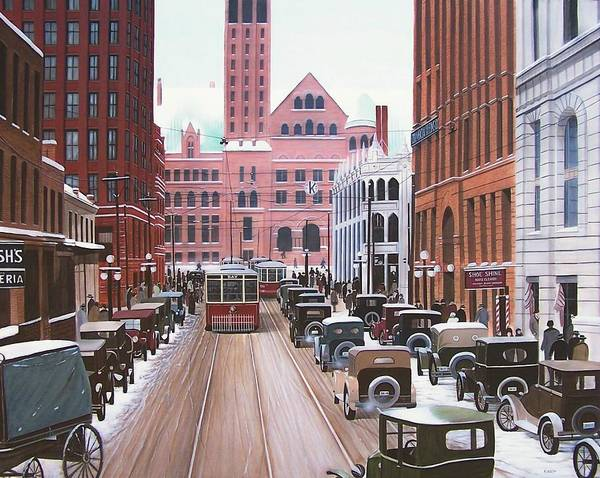 Painting - Bay Street Christmas Eve 1924 by Kenneth M Kirsch