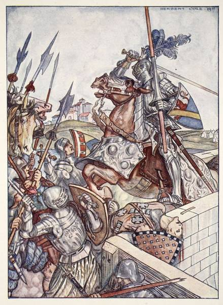 Knights Drawing - Bayard Defends The Bridge, Illustration by Herbert Cole