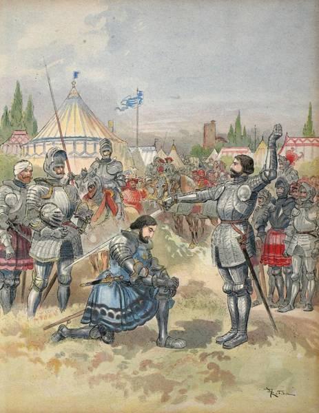 Honour Wall Art - Drawing - Bayard Knighting Francis I by Albert Robida