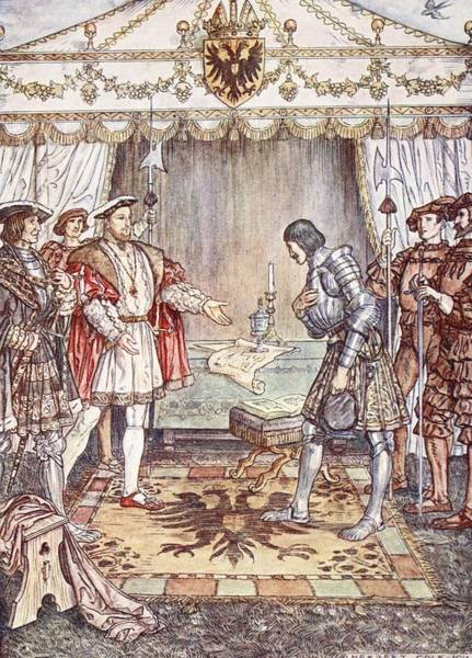 Courtiers Drawing - Bayard Presented To Henry Viii by Herbert Cole
