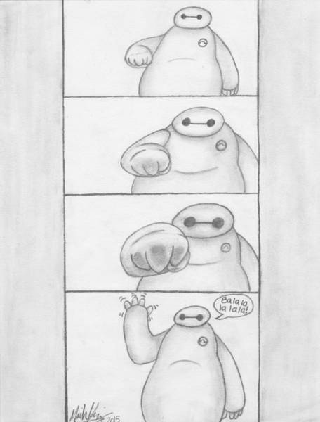 Pump Drawing - Baymax Fist Pump by Moriah Kesinger