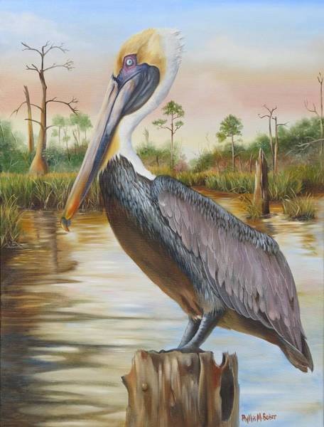 Wall Art - Painting - Bayou Coco Point Pelican by Phyllis Beiser