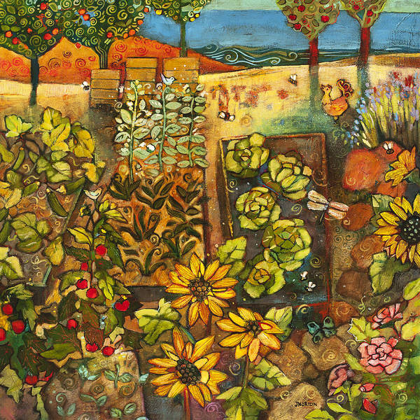 Fruit Trees Wall Art - Painting - Backyard Organic Garden by Jen Norton