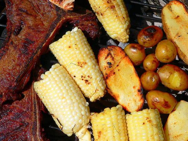 Photograph - Bbq Steak Potatoes And Corn by Jeff Lowe