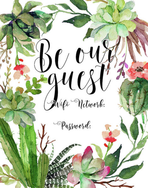 Home Painting - Be Our Guest Wifi by Tara Moss