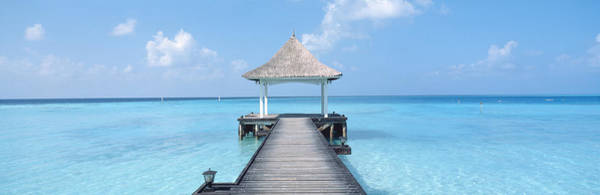 Shelter Photograph - Beach & Pier The Maldives by Panoramic Images
