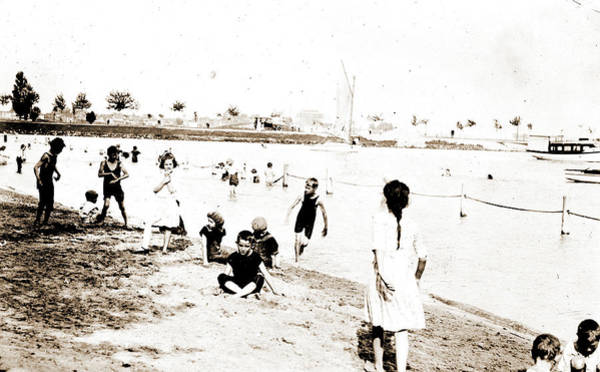 Michigan Drawing - Beach & River Front, Detroit, Beaches, Children Playing by Litz Collection
