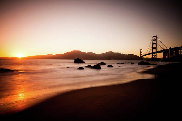 Multi Exposure Photograph - Beach And Golden Gate Bridge At Sunset by Zodebala