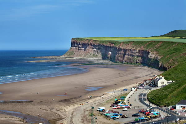 High Water Mark Photograph - Beach And Huntcliff At Saltburn By The by Mark Sunderland / Robertharding