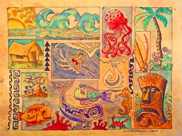 Wall Art - Drawing - Beach And Surf Collage by Aaron Bodtcher