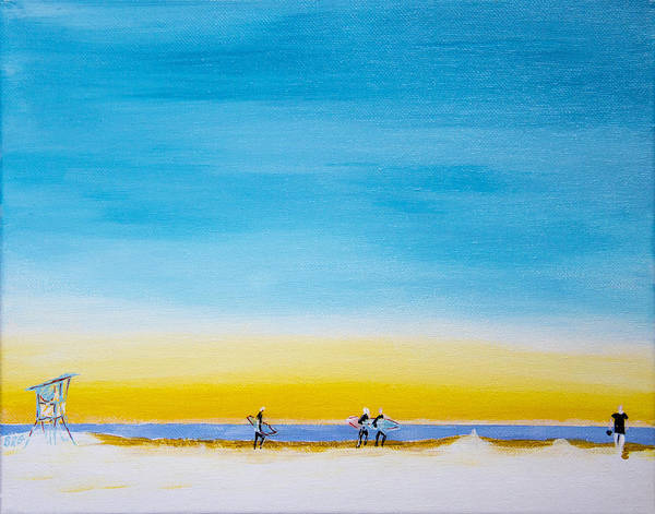 Oceanscape Painting - Surfers On The Beach by Ben Gertsberg