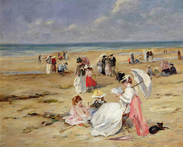 Normandy Painting - Beach At Courseulles by Henri Michel-Levy