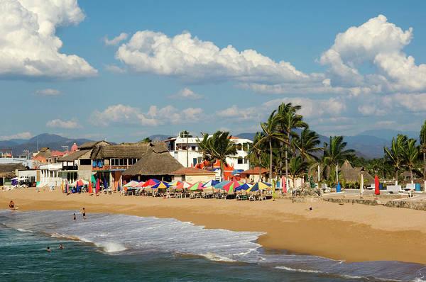 Sunshade Photograph - Beach At Village Of Barre De Navidad by Dan Gair